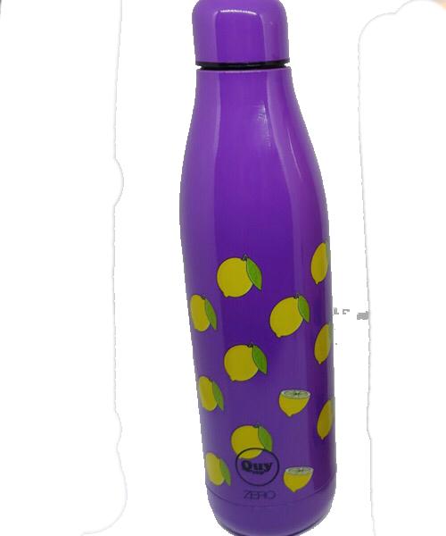 QUY CUP Zero 500ml. Thermos in Acciaio Inossidabile. Viola con limoni