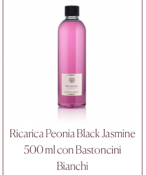 Fragranza ambiente Ricarica Peonia Black Jasmine  Dr.Vranjes Firenze con Bastoncini Bianchi