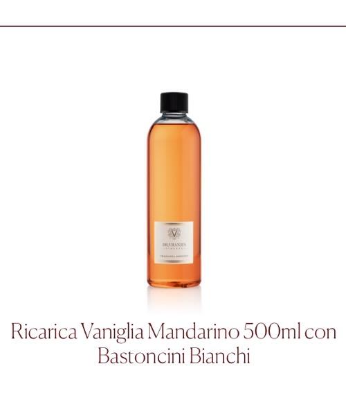 Fragranza ambiente Ricarica Vaniglia Mandarino Dr.Vranjes Firenze con Bastoncini Bianchi
